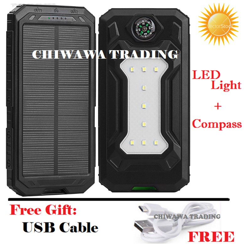 TX23【Free Gift : USB Cable】30000mAh Solar Power Bank + LED Camping Light + Compass
