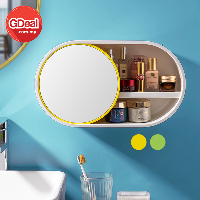 GDeal Wall Mounted Cosmetic Vanity Storage Box Skincare Organizer With Mirror Kotak Kosmetik كوتق كوسميتيق