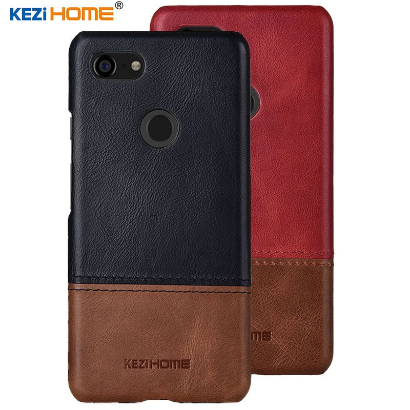 Case for Google Pixel 3 XL KEZiHOME Double Colors Genuine Leather Back Cover
