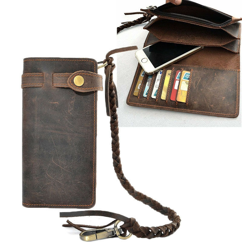 Men/'s Wallet Biker Briefcase with Chain Wallet Purse Leather