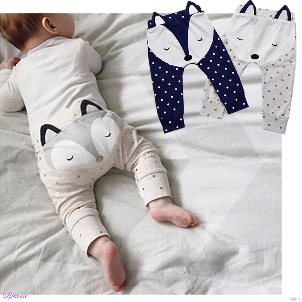 Cotton Baby Fox Pattern Long Trousers New Autumn Kids Harem Pants