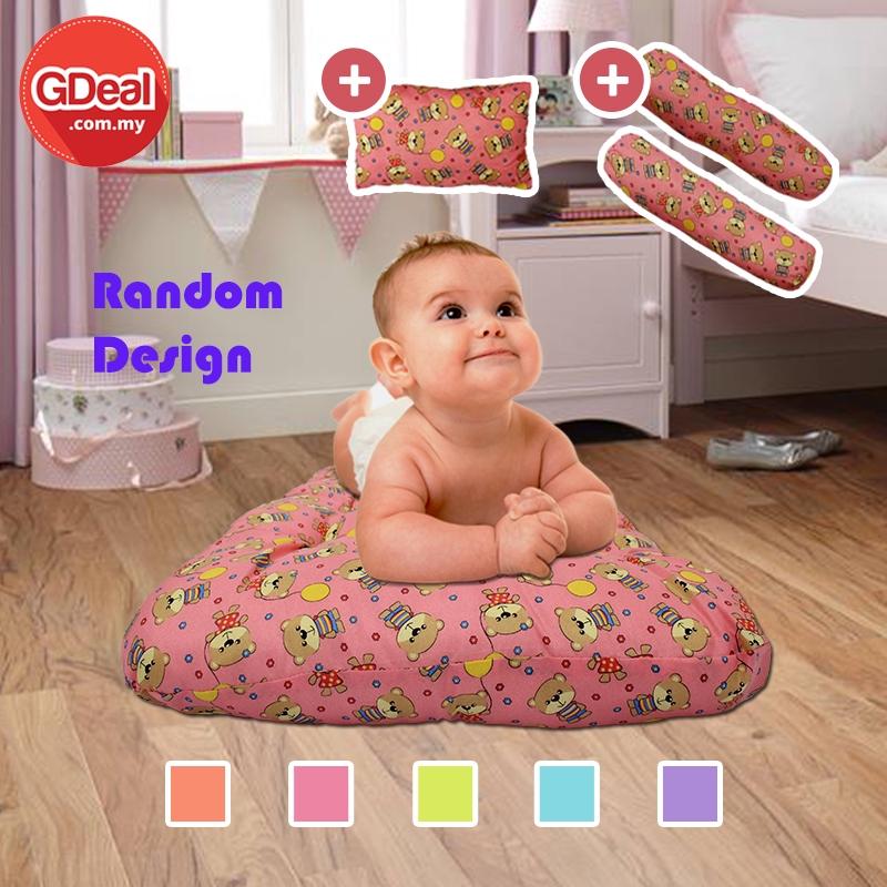 GDeal 4 Colours Comfortable Baby Mattress 4 in 1 Pillow Soft Newborn Bedding Set Tilam Bayi (Random Design)تيلم بايي