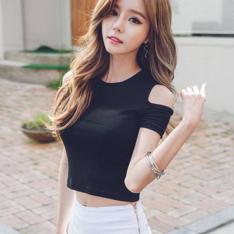 4733524569970 Women s Casual tshirt off shoulder Short sleeve short T-Shirts Tees Crop  Tops