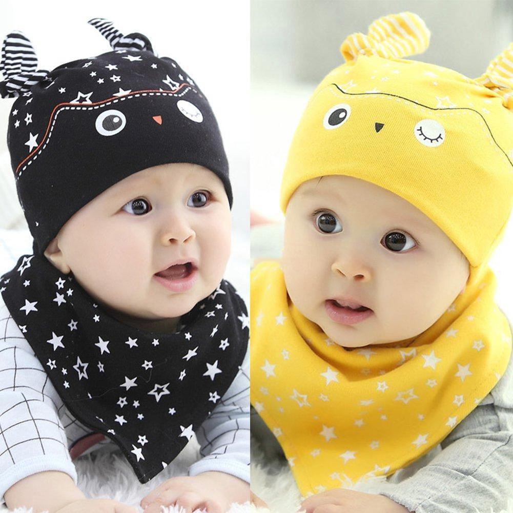 b954ae22e Newborn Toddler Baby Boy Girl Star Print Sleep Hat Cap + Bib Saliva Towel  Scarf