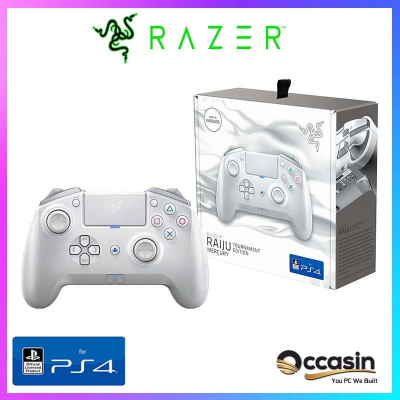Razer Raiju Tournament Edition Mercury White Ps4 Pc Bluetooth And Wired Controller Shopee Malaysia Razer raiju tournament edition gaming controller features bluetooth and wired connection, and the first to have a mobile configuration app. shopee