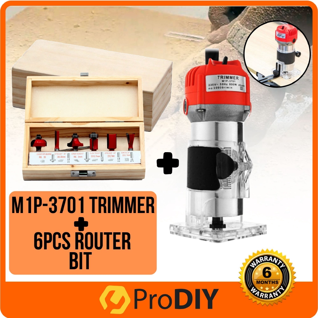 M1p 3701 220v Electric Hand Trimmer Router Durable Wood 6pcs Router Bit Set Shopee Malaysia