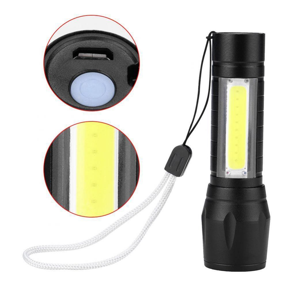 Zoomable T6 + COB LED Flashlight 3 Modes USB Rechargeable Camping Fishing Lamp.