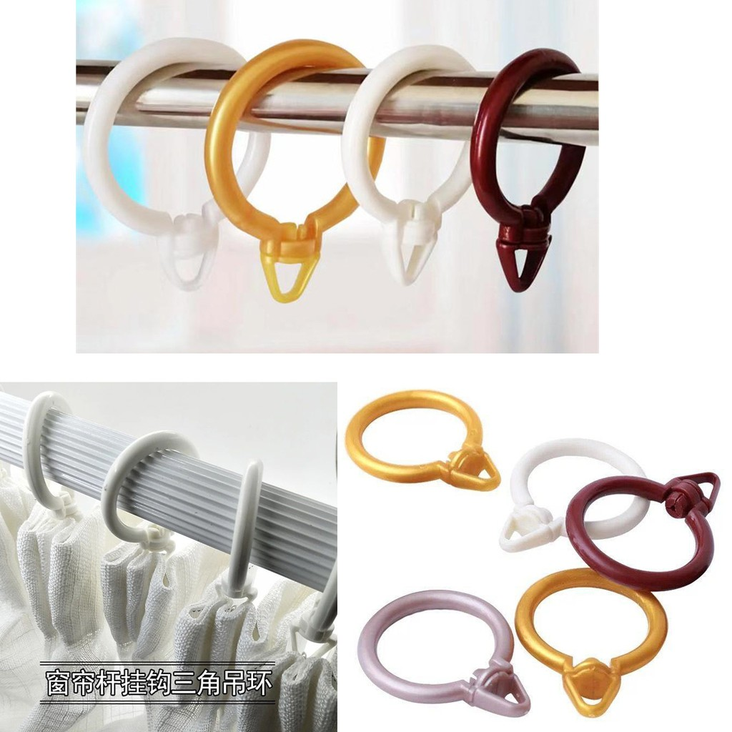 Picture of: 4 Color Hanging Eyelet Loops Pole Rod Hooks Rings Curtain Rod Rings Plastic Window Curtain Hooks Universal Rings Shopee Malaysia