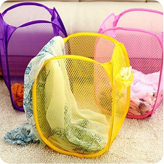 Foldable Laundry Basket Nylon Net Storage