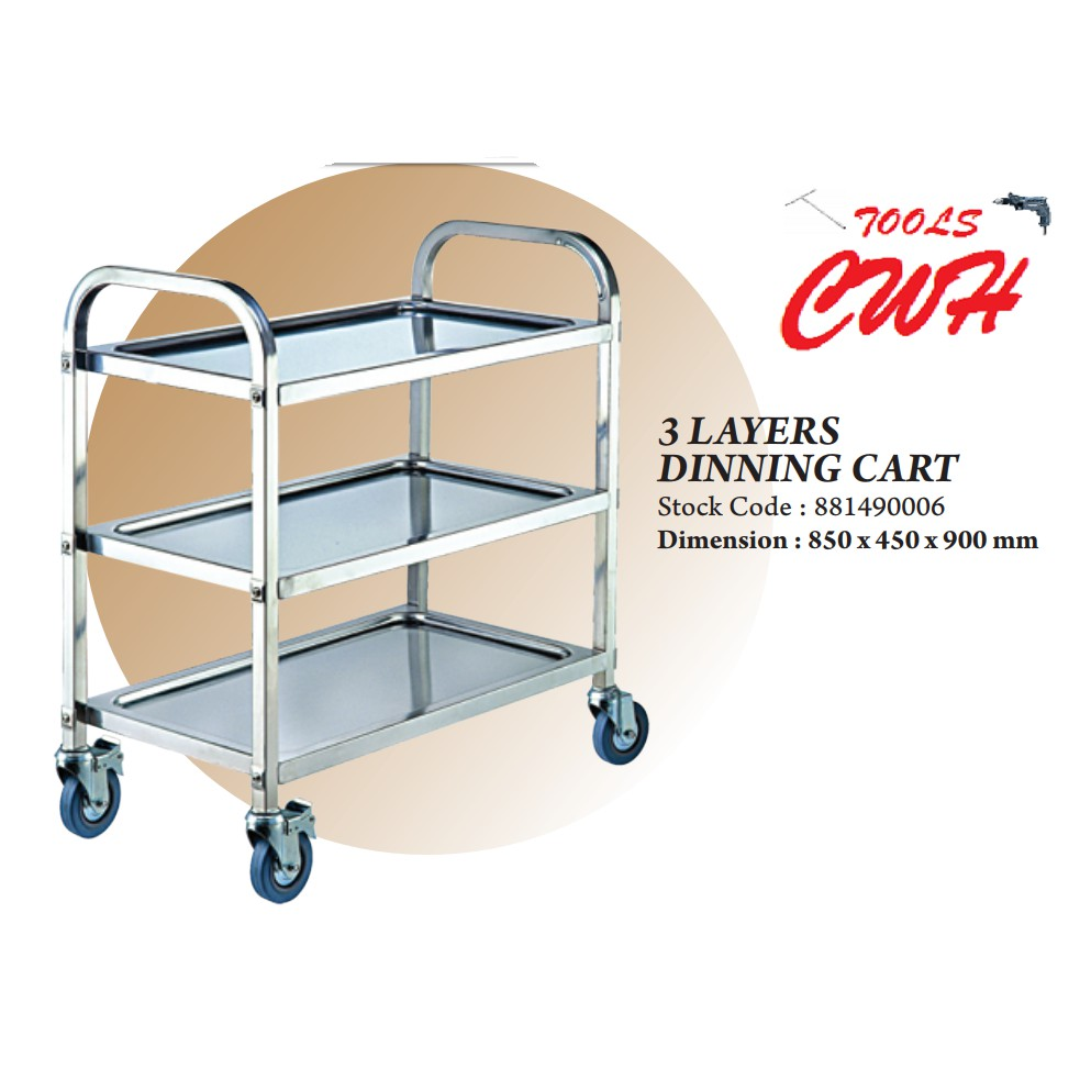 THE BAKER 3LAYERS BAKERY STAINLESS STEEL DINING CART TROLLEY CAR WHEEL