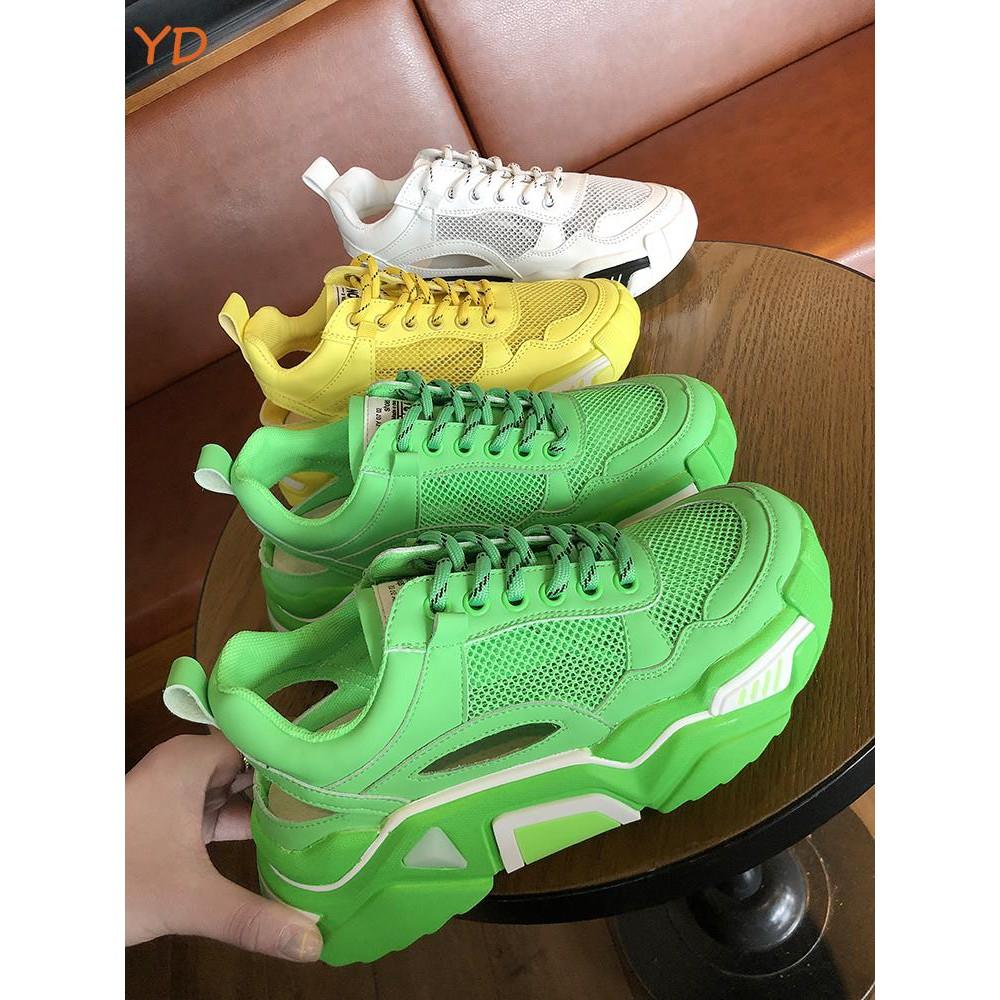 konkurencyjna cena zniżki z fabryki przed Sprzedaż YD fluorescent green old shoes female ins tide summer new net red mesh  breathabl