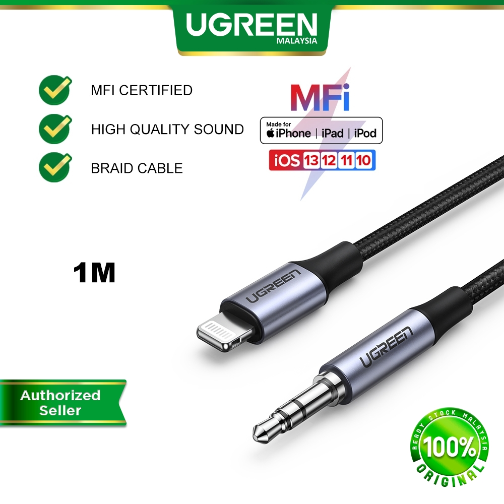 UGREEN MFi Lightning to 3.5mm Jack Male AUX Cable for iPhone 12 SE iPhone 11 11 pro 7 8 plus XR Xs MAX Speaker Soundbar