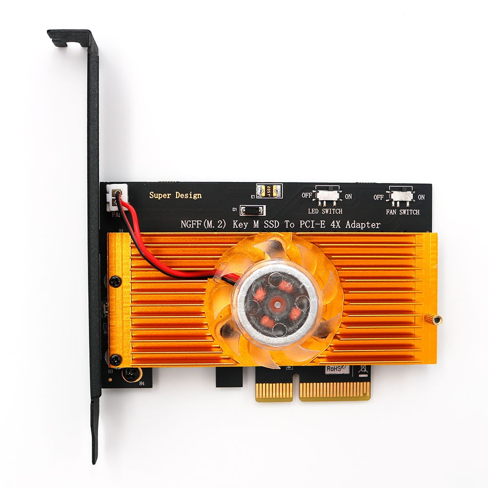 NGFF(M 2) NVME PCI-E SSD to PCI-E 3 0x 4X Adapter with Cooling Fan