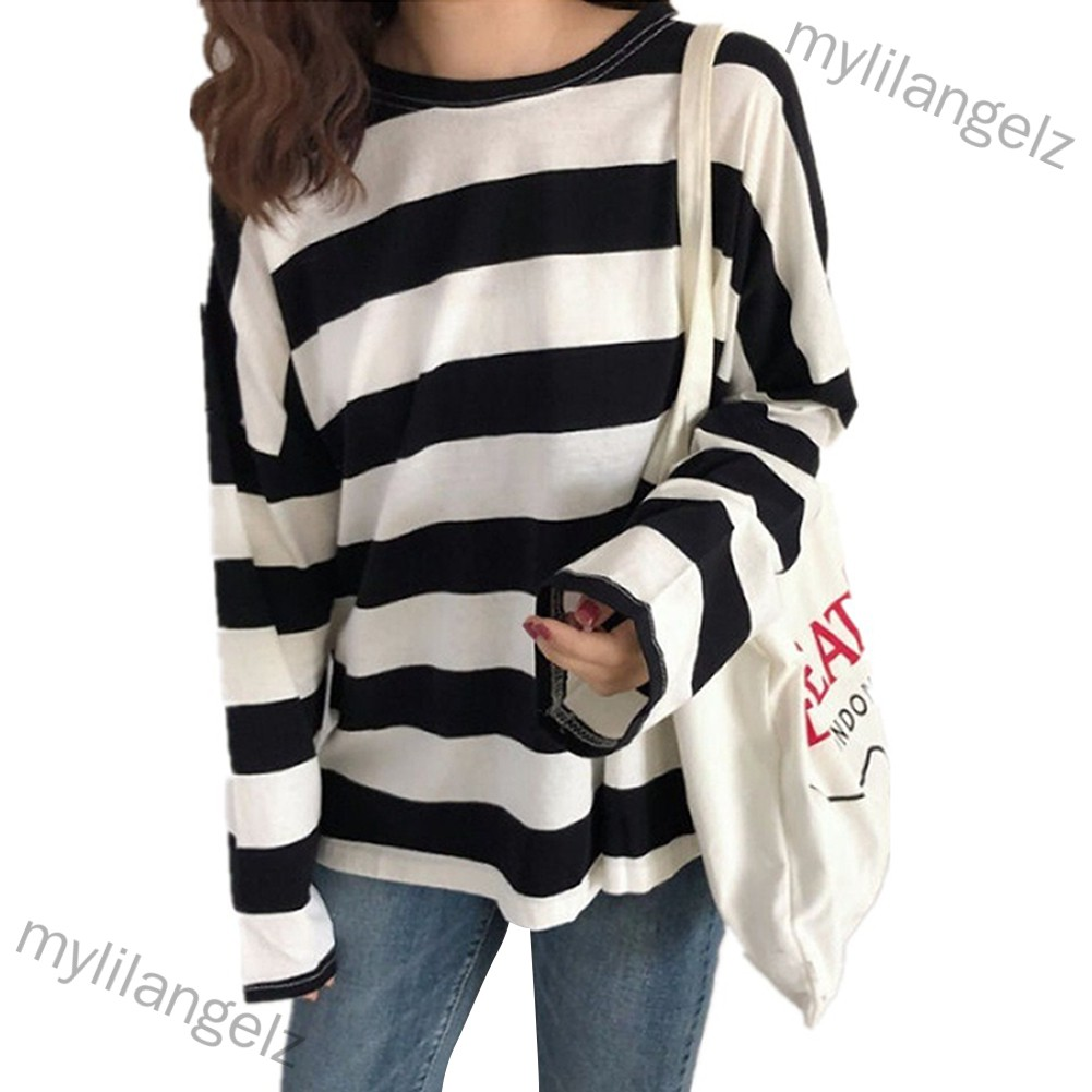 Mylilangelz Striped Loose T-Shirts Women Long Sleeve O Neck Female T Shirt Casual Tops Big Size Women Clothes