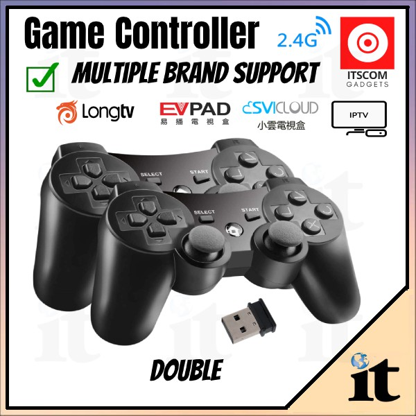 Game Control | 2.4GHz Wireless Dual Joystick Control Game Controller Gamepad For PS3 PC TV Box - SHIP FROM JOHOR