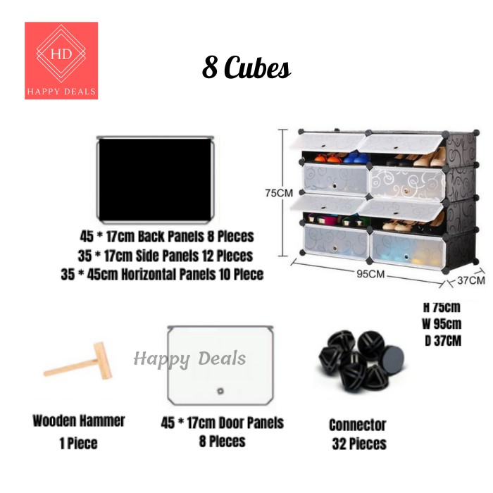 Happy Deals Multi-layer Multi-functional Household Fully Enclosed Simple Shoe Cabinet with Doors Waterproof Stackable