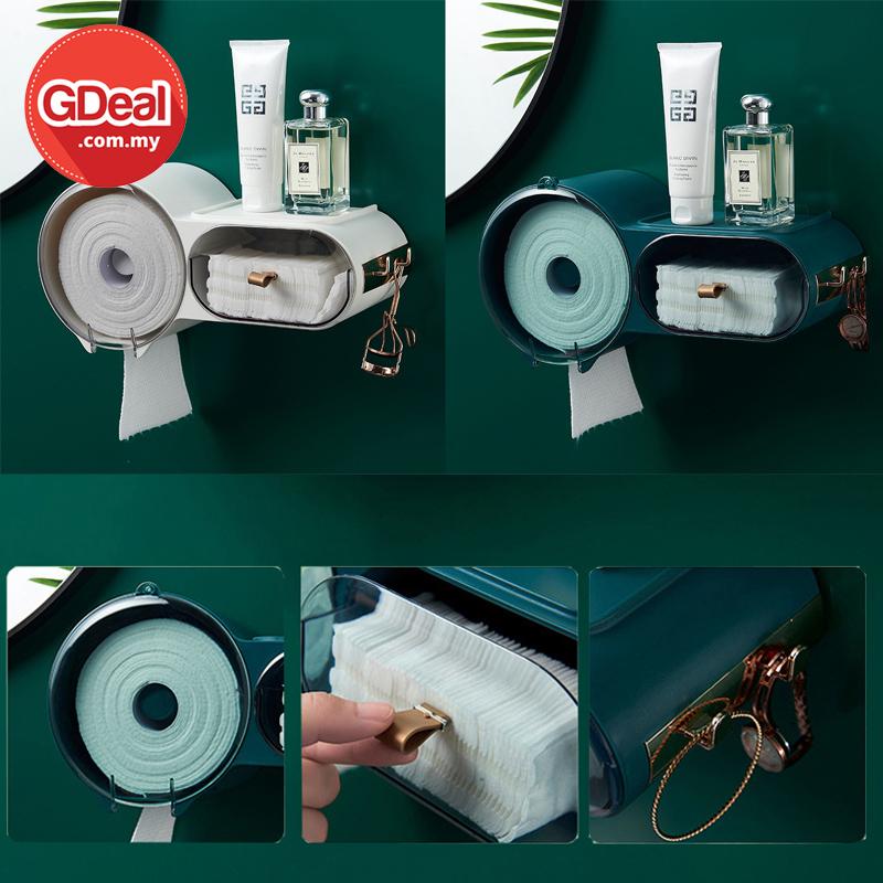 GDeal Toilet Wall Mounted Tissue Holder With Dustproof Cotton Puff Storage Organizer Kotak Tisu