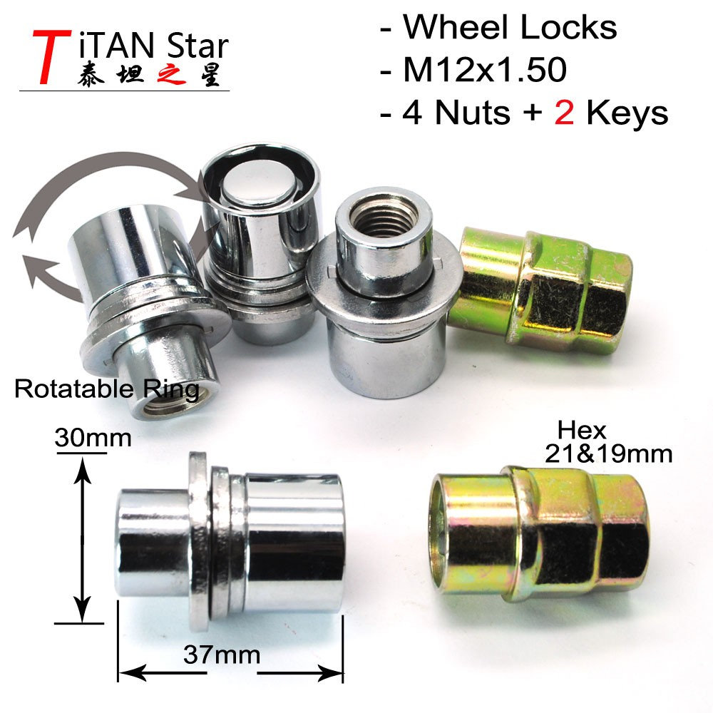 TS Mitsubishi Outlander Toyota M12x1 50 Wheel Locks Nuts Anti Sheft Lug  HTLS4