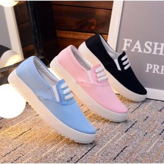 Ready Stock🌰🌿Fashion Women Sport Black Shoe Casual Canvas Flat School Sneaker