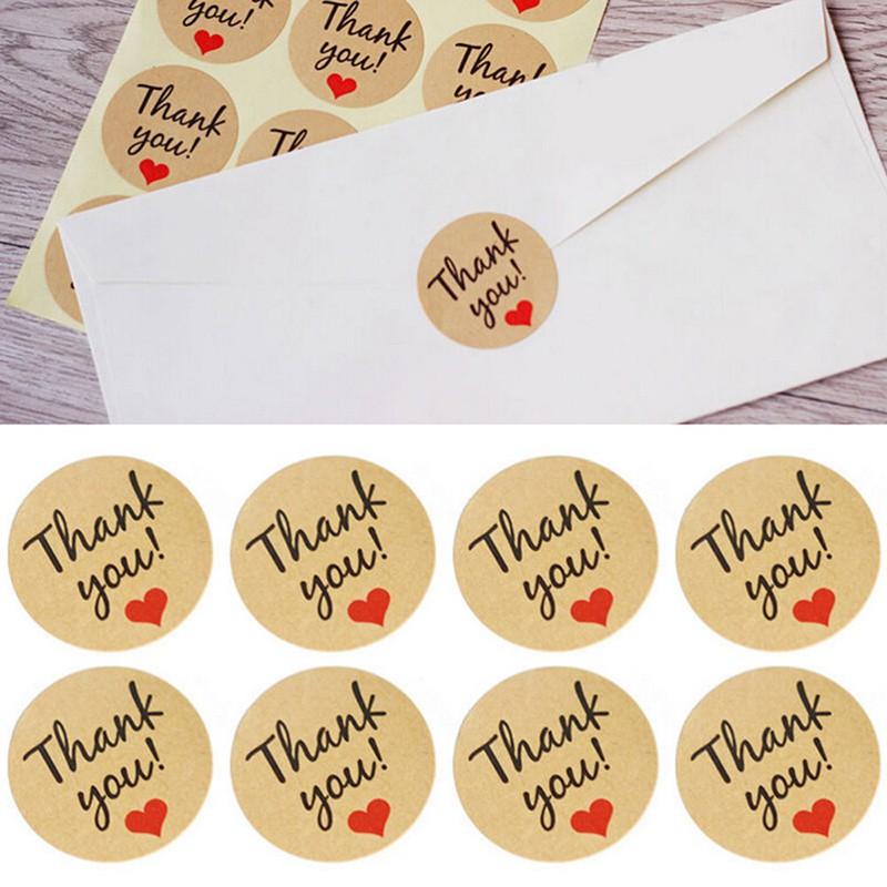 สติ๊กเกอร์กระดาษคราฟท์ลายหัวใจ Thank You 1