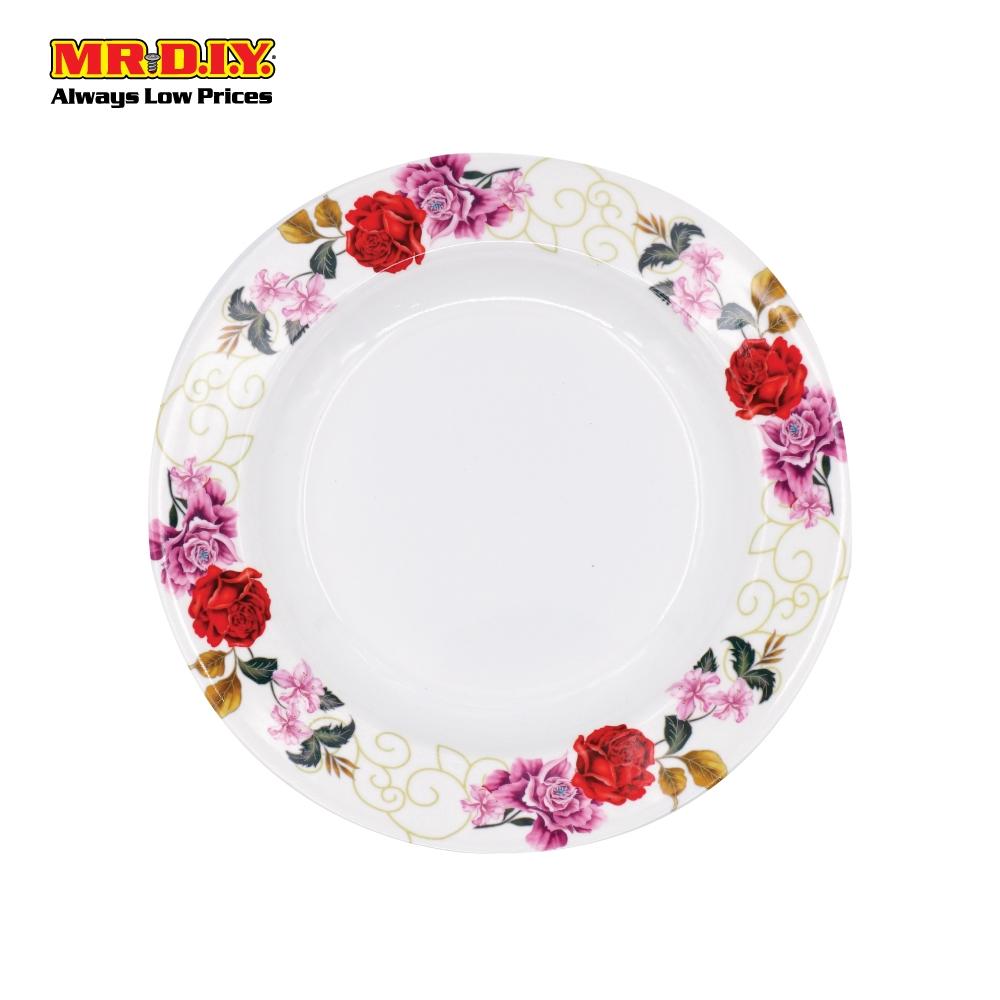 MR.DIY Premium Rose Flower Pattern Melamine Dinner Plate ...