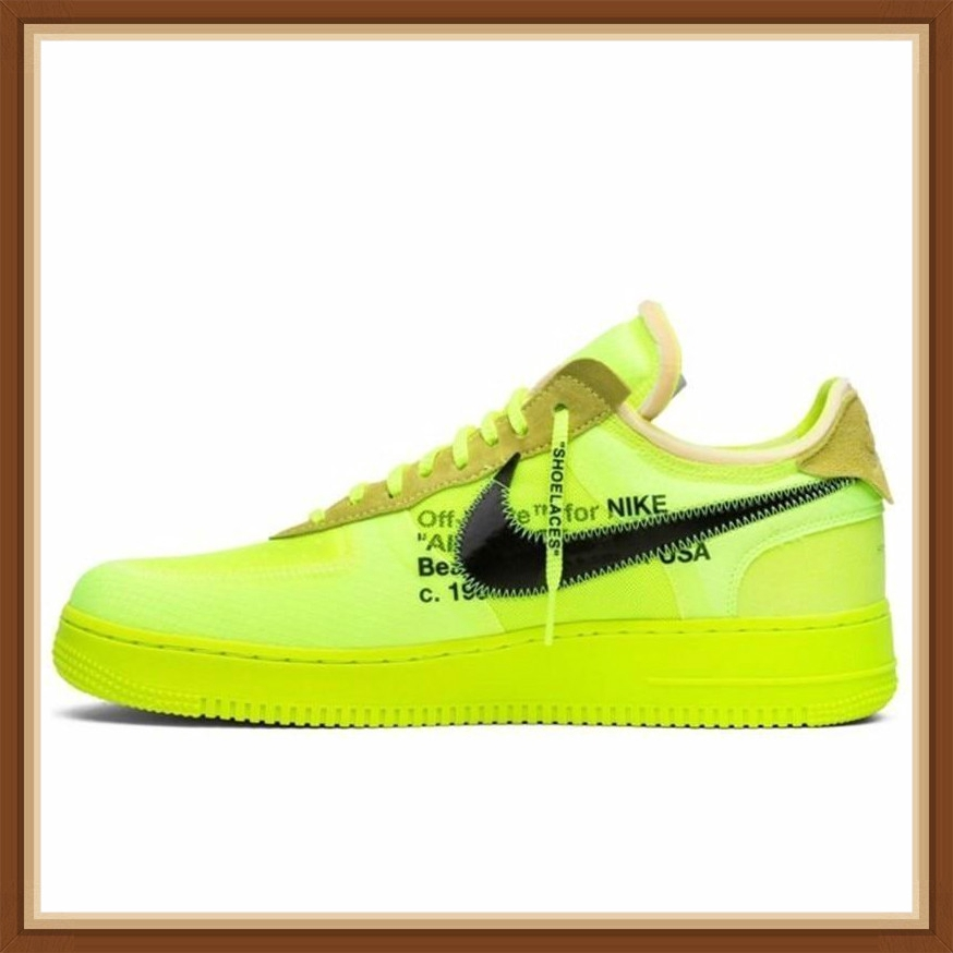 Nike Air Force 1 OFF WHITE OW Men Skateboarding Shoes Fluorescence Green Comfortable Sneakers Fashion Shoes