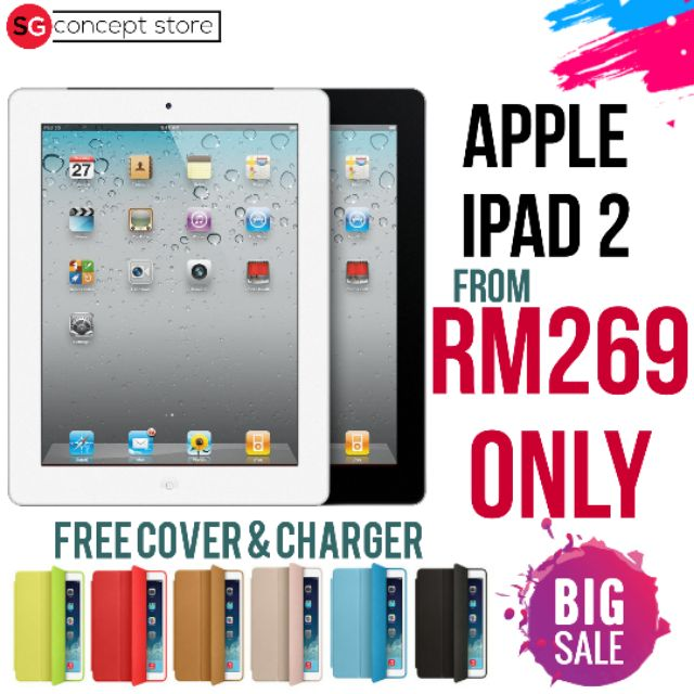 Apple iPad 2 (Original Secondhand ) FREE CHARGER FREE COVER