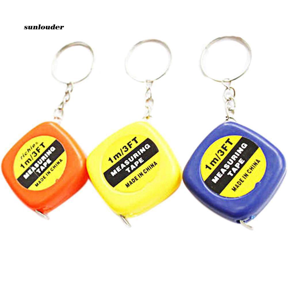 SNLD_Mini Keychain Key Ring Easy Retractable Tape Measure Pull Ruler 1M/3FT  Gift