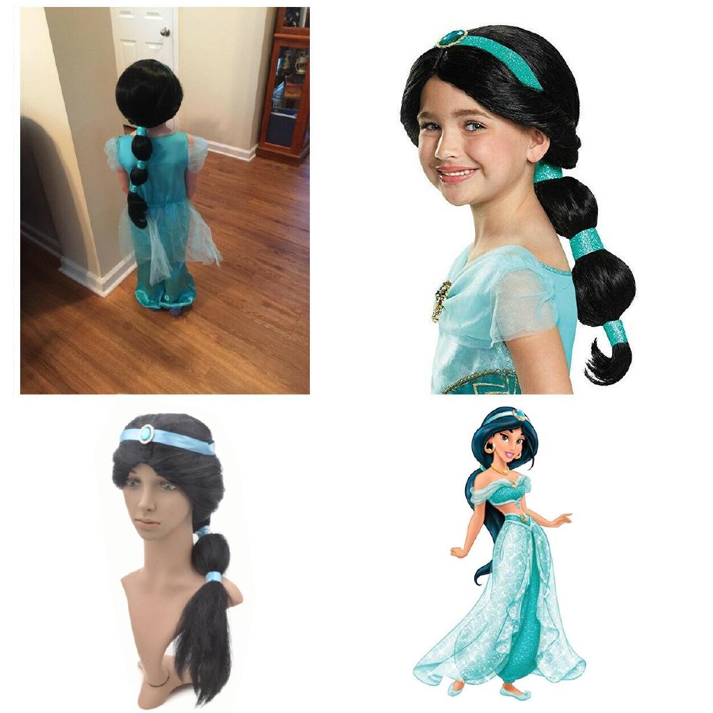 Princess Jasmine Aladdin Cosplay Long Straight Black Fluffy Ponytail Cosplay Wig