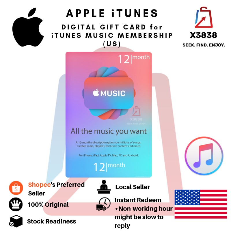APPLE iTunes (US) Digital Gift Card for iTunes Music Membership for 12  Months