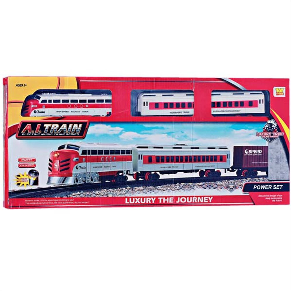 Luxury train set  Locomotive Rail King Train Track Railway Set Free Battery