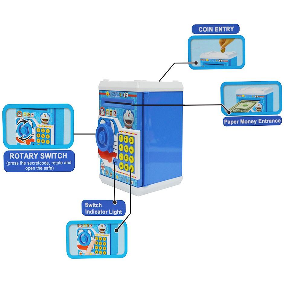 Doraemon ATM/Piggy Bank/Money Box With Secret Code Lock (Free Batteries)