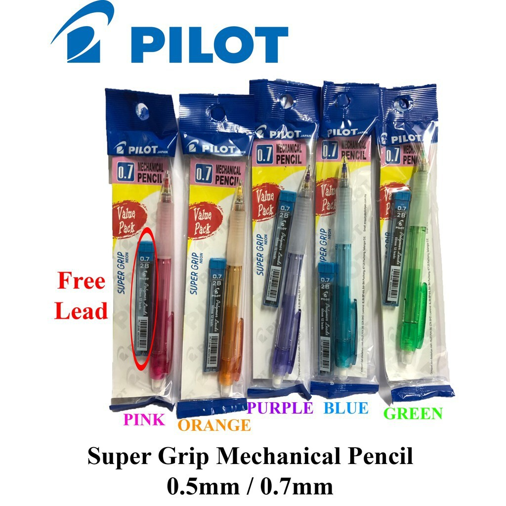 Pilot Supergrip Mechanical Pencil 0.7mm (Free Pencil Lead) 12pcs