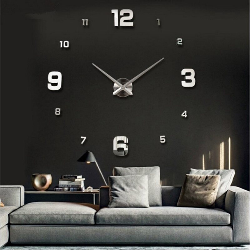 Large Wall Clock Watch 3d Wall Clocks Living Room Home Decoration Accessories Shopee Malaysia