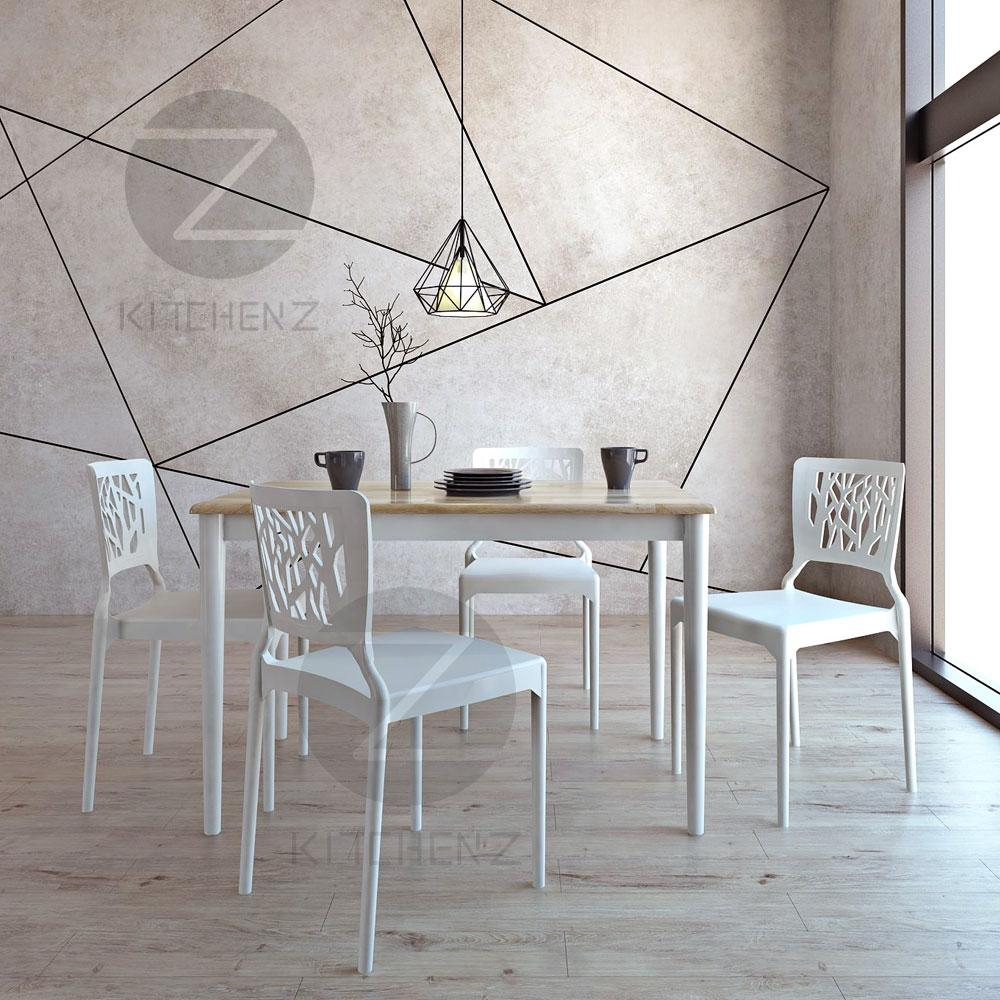 Kitchen Z Solid Wood Dining Table 254RND(120x75)-N+WHT + IZ-701 4 Chairs - White