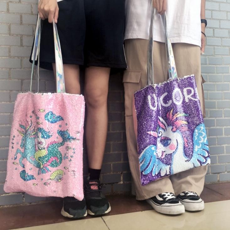 313e34b6107 Girls Glitter Unicorn Shoulder Bag Mermaid Sequins Bags Fashion Cute Canvas  Bag