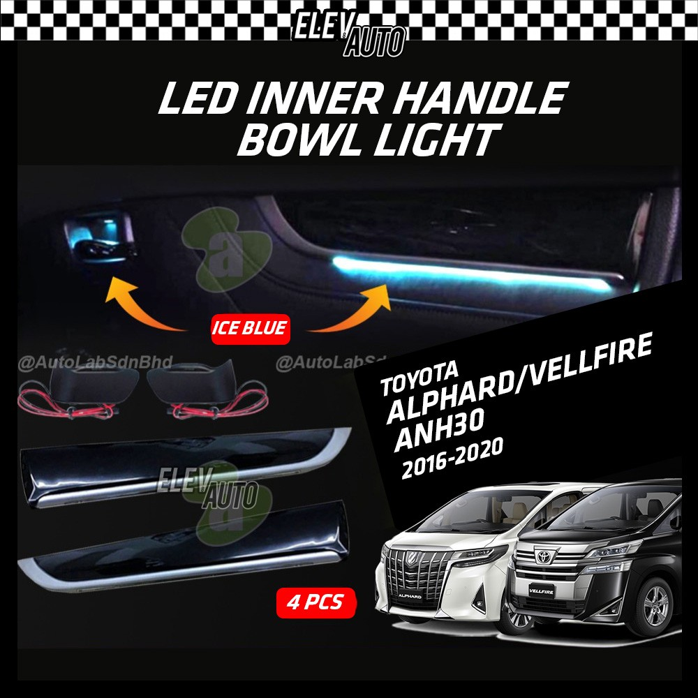 Toyota Alphard / Vellfire ANH30 2016-2021 Icy Blue LED Inner Handle Bowl 4 PCS