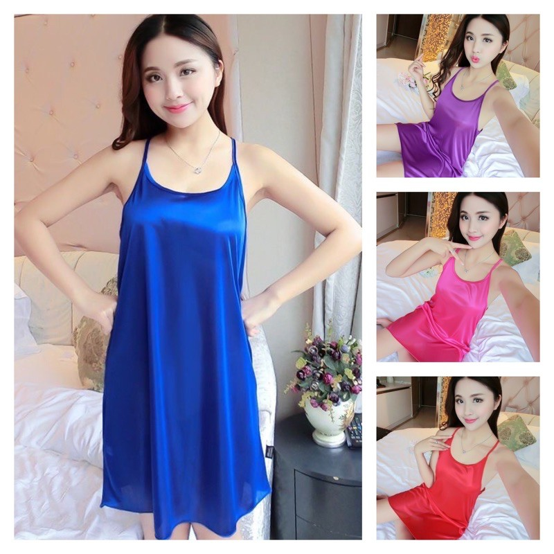 [READY STOCK] WOMEN SATIN SLEEVELESS SLEEPWEAR DRESS BAJU TIDUR WANITA SATIN WITH PLAIN DESIGN - FREE SIZE(FIT UP TO XL)