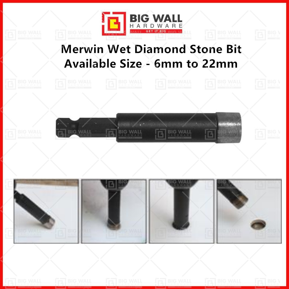 Merwin Wet Diamond Stone Bit Available Size - 6mm to 22mm Big Wall Hardware