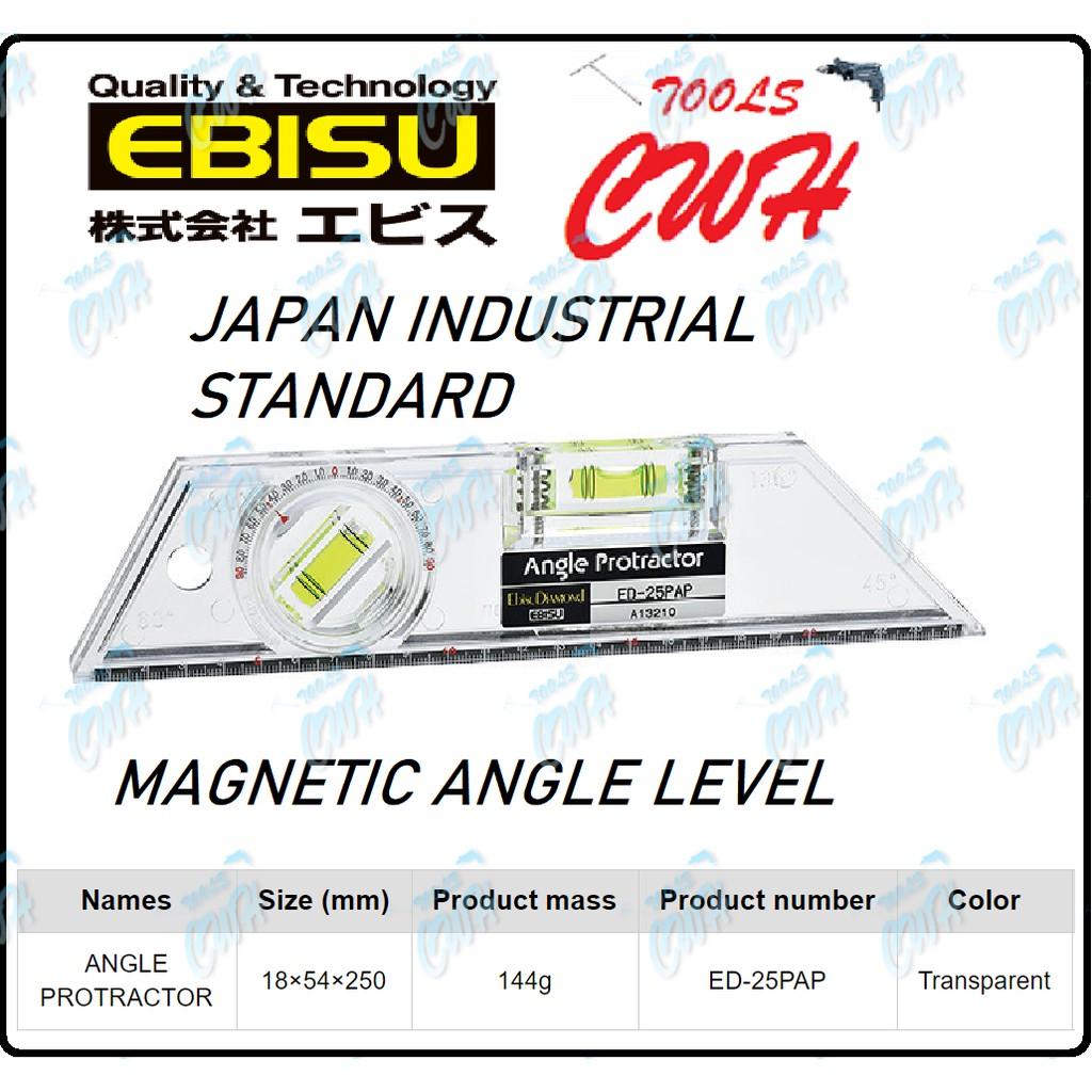 ED-25PAP EBISU DIAMOND ANGLE WATER LEVEL WITH MAGNETIC BASE VERTICAL HORIZONTAL PROTRACTOR BALANCER DEGREE FINDER