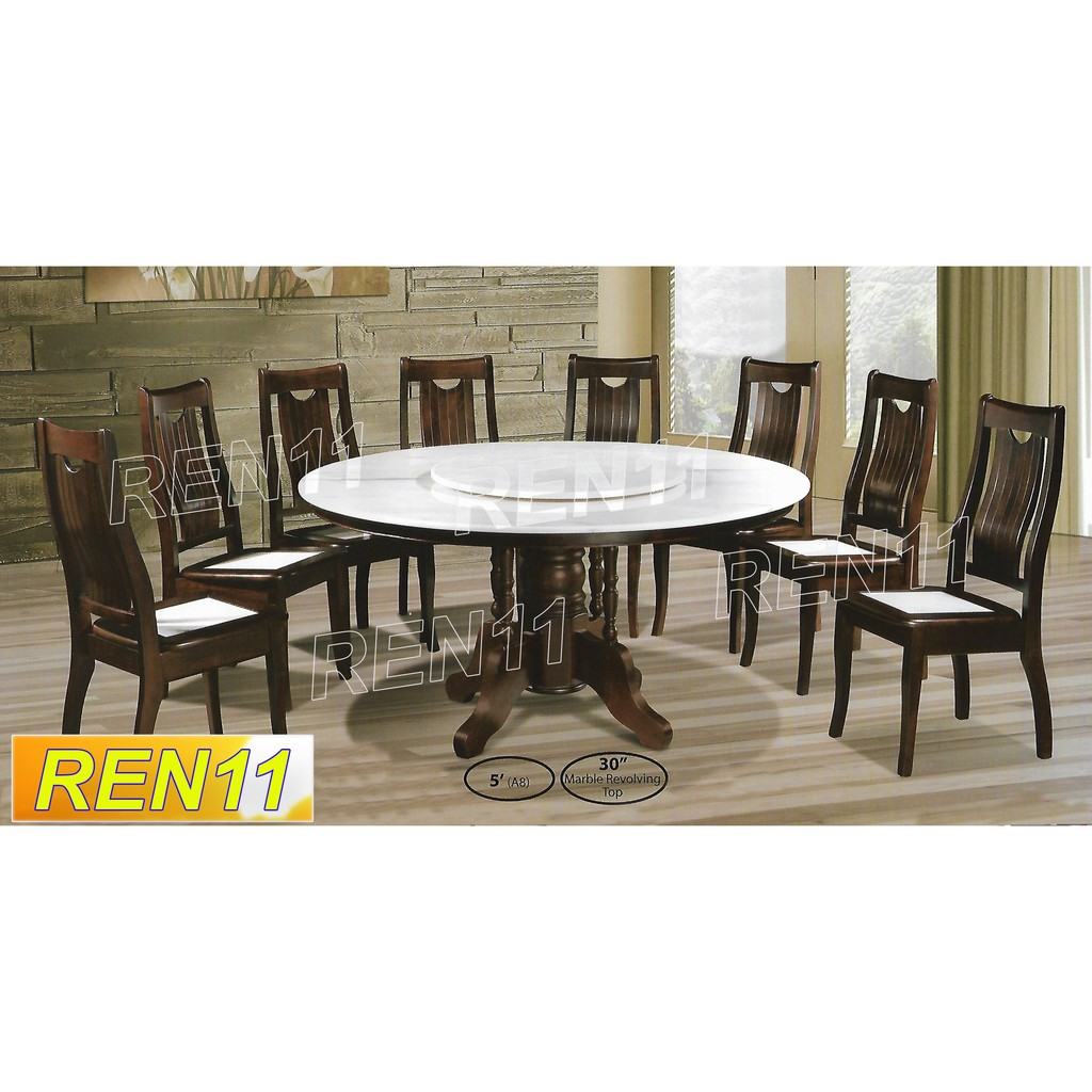 Full Set Round Natural White Marble Dining Furniture Free Shipping Shopee Malaysia