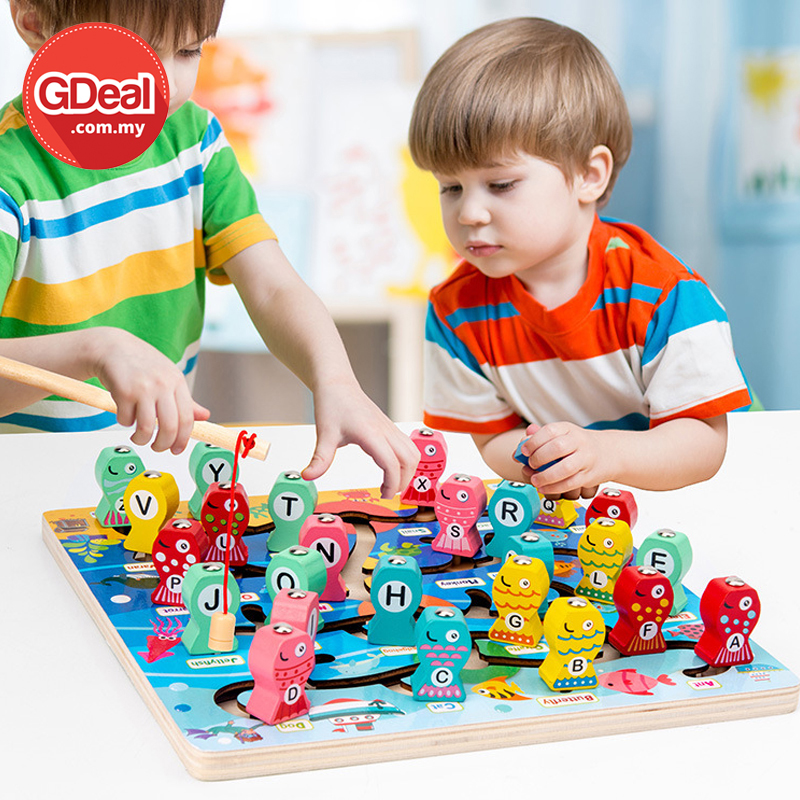 GDeal Magnetic Educational Children Wooden Interactive Fun Magnetic Fishing Toy Permainan ڤرماءينن