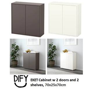 Ready Stock Ikea Eket Cabinet W 2 Doors And 2 Shelves 70x25x70cm