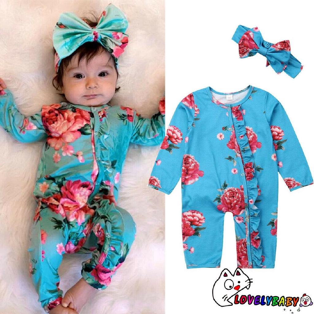 UK Soft Infant Baby Girl Floral Romper Bodysuit Jumpsuit+Headband Clothes Outfit