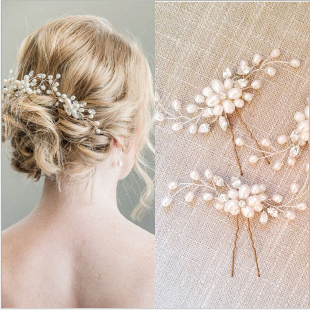 2 pcs/set handmade wedding hair pins vintage bridal accessories crystal pearls hairpin clips comb hair accessories
