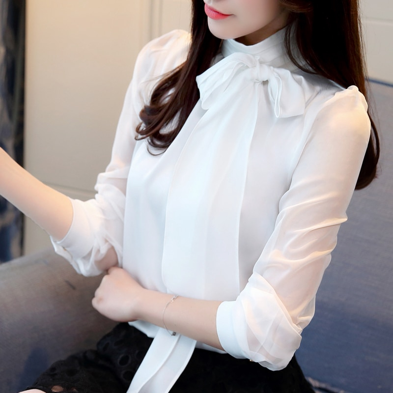166181a49ec Spring shirt women fashion 2019 solid bow stand collar office tops and  blouses