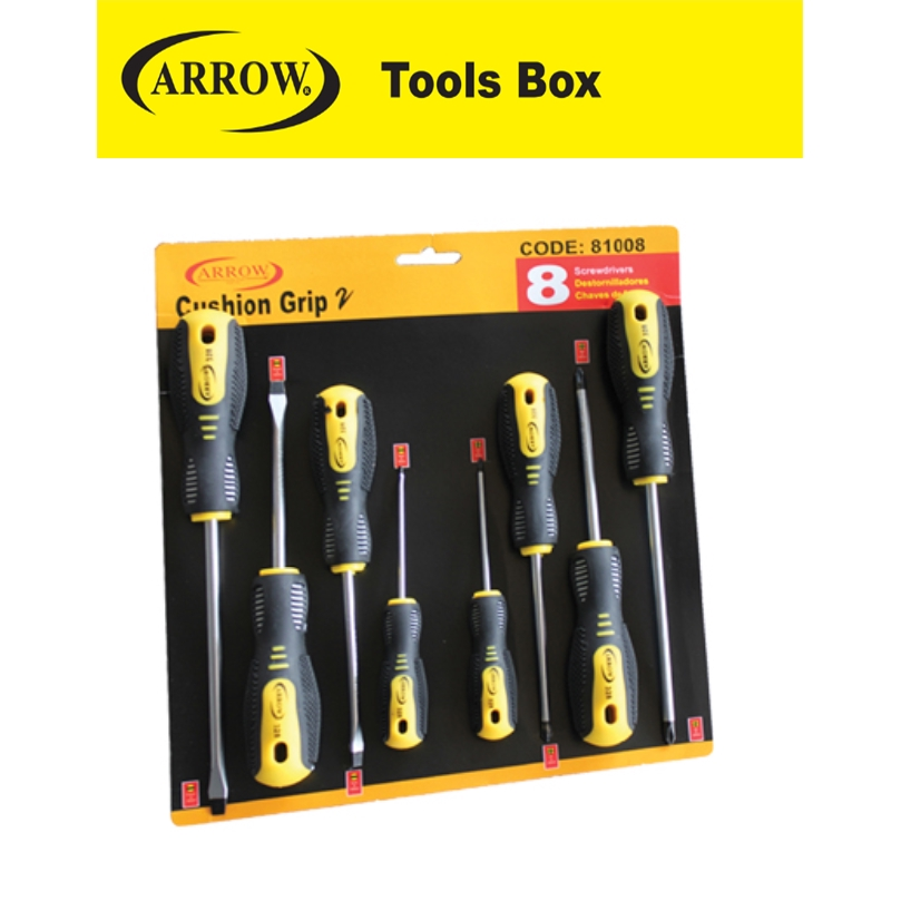 ARROW 81008 8 PIECES SCREWDRIVER EASY USE SAFETY GOOD QUALITY