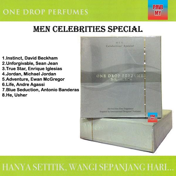 One Drop Perfumes Men Celebrities' Special   Original Hard Box   Wangian Lelaki Set Selebriti One Drop Perfumes