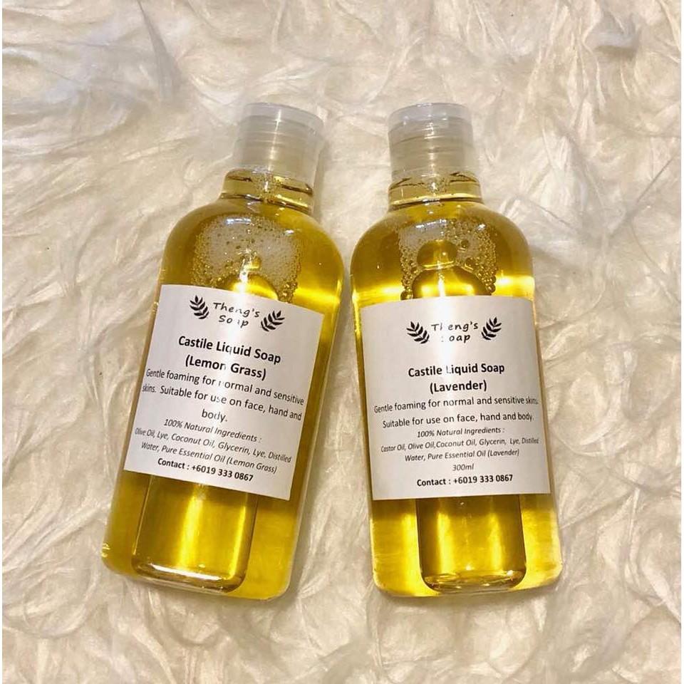 100% Handmade Natural Olive Oil Castile Liquid Soap (300ml)