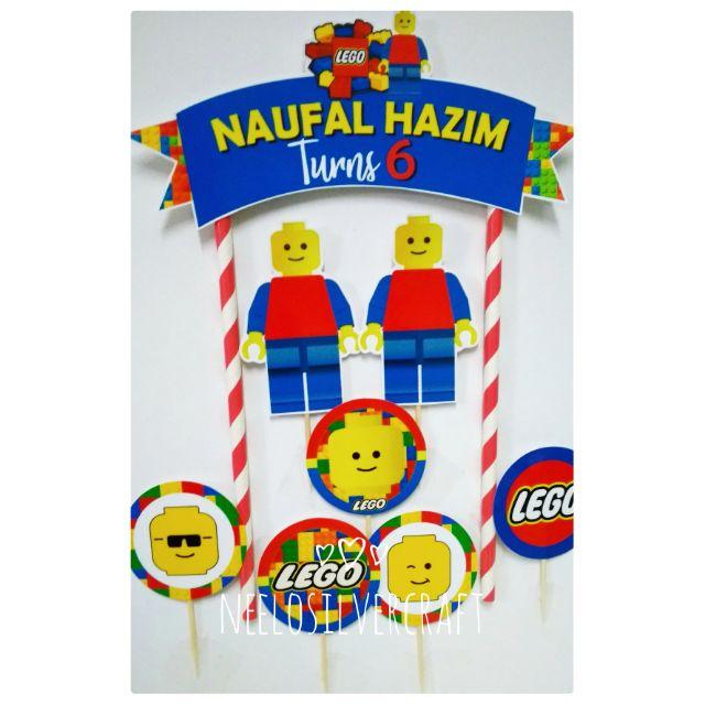 Enjoyable Lego Theme Cake Topper For Birthday Cake Shopee Malaysia Funny Birthday Cards Online Elaedamsfinfo
